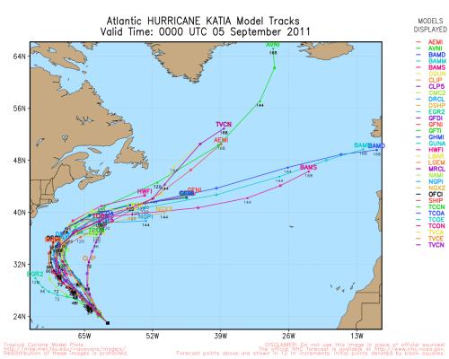 Hurricane Katia Model Tracks Valid Time 0000 UTC September 2011