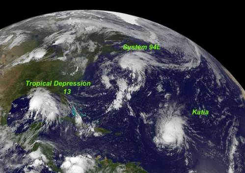 This GOES-13 satellite image shows Hurricane Katia (right), Tropical Depression 13 (left) and System 94L (top). Credit: NASA/NOAA GOES Project
