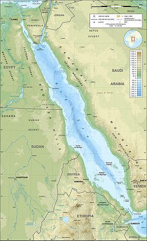 Red Sea topographic map  מפה טופוגרפית של ים סוף