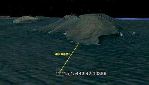 הדמיית מחשב כיוון ומרחק האי החדש בארכיפלג זוביר