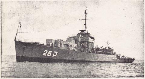 """אח""""י מבטח (ק - 28) בפיקודו של אריה ברוש, קפלוניה יוון 1953 מבצע """"הצלה""""."""
