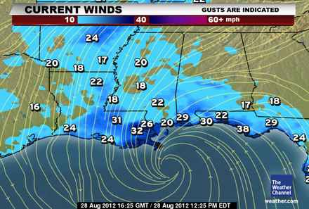 Hurricane ISAAC - Current Winds and Wave Heights