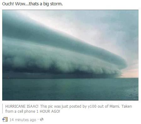 """חזית הסופה כפי שצולמה לפני שעות אחדות (ע""""י טלפון סלולארי)"""