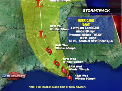 Hurricane Isaac storm track map