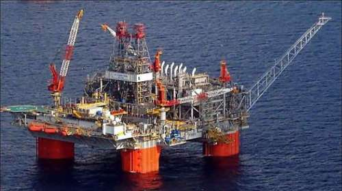 oil rig in mexico gulf @ Hurricane ISAAC