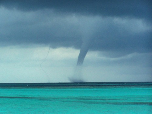 A waterspout over the sea