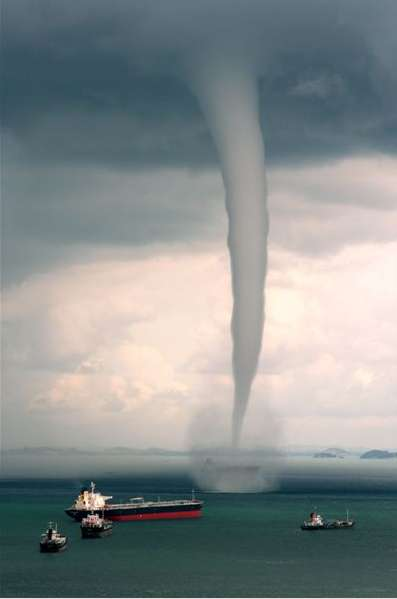 Waterspout over a body of water in  singapore