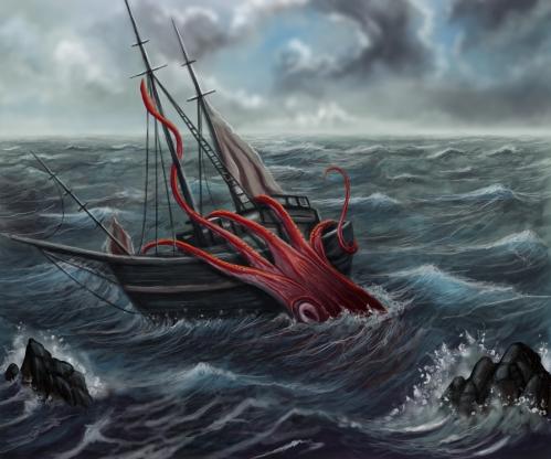 ציור של דיונן ענק תוקף ספינה  - giant squid  attack old ship