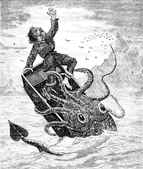 איור של דינון ענק תוקף סירה