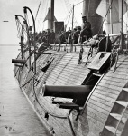 """1862   On the James River in Virginia . """"Effect of Confederate shot on Federal ironclad Galena """"   James F. Gibson"""