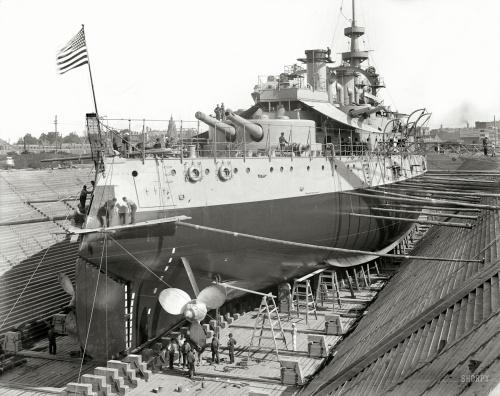 "1898 | ""U.S.S. Oregon in dry dock, Brooklyn Navy Yard"""