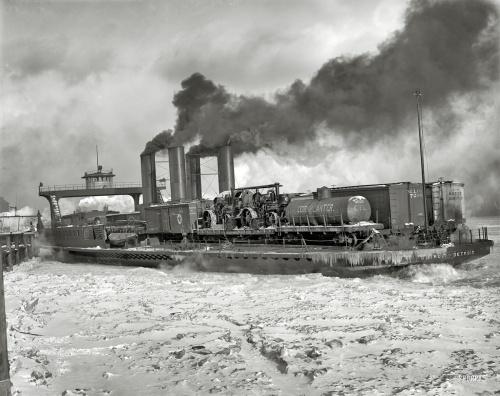 "1905 | The Detroit River . ""Transfer steamer Detroit in the ice"""