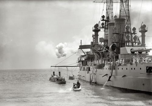 "1912 | ""German port call. U.S. battleship in Hampton Roads to greet German squadron"" | Harris & Ewing Collection"