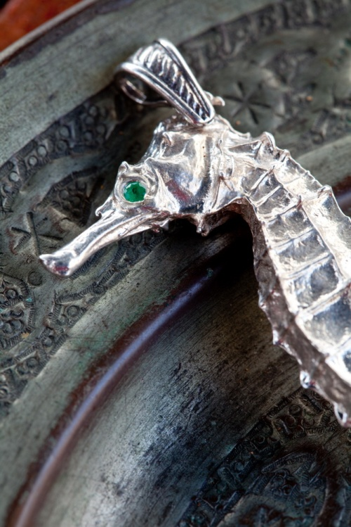 Ocean Spirit Collection Silver emerald seahorse  Jewelry