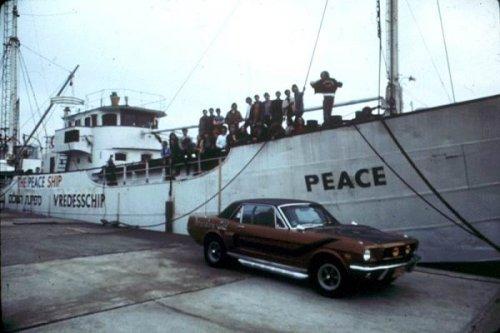 ספינת קול השלום בניו יורק בטרם צאתה להפלגה לעבר חופי ארץ ישראל