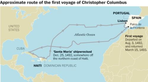 מסלול ההפלגה המשוער של קולומבוס 1492