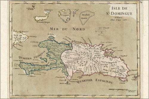 הדפס מפה עתיק של האי האיטי הספרדי הרפובליקה הדומיניקנית 1767  - Map Of Hispaniola Haiti Dominican Republic 1767 Antique Reprint