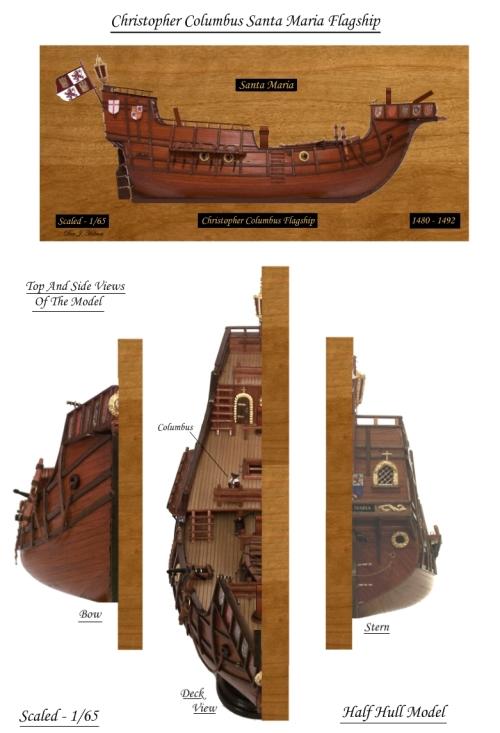 דגם של הספינה סנטה מריה - האם נמצאה ספינת הדגל של כריסטופר קולומבוס הסנטה מריה - Santa Maria Half Hull Model - ??? Christopher Columbus Sunken Flagship  Santa Maria possibly Found - Santa Maria Half Hull Model
