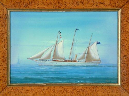 איור של הספינה אקסנטה (Xantha) כפי שצייר אמן איטלקי מפורסם במפרץ נאפולי איטליה