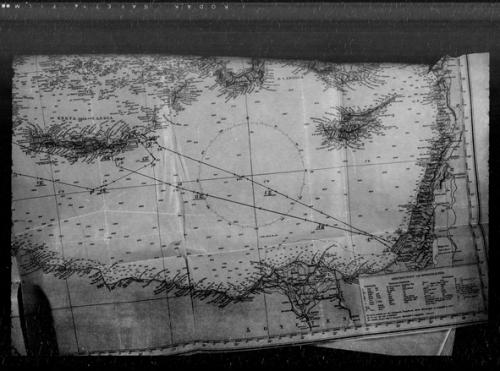נתיב השייט מזרחה לעבר חופי עזה, על גבי מפה מתוך הלוג בוק האורגינלי של הצוללת:
