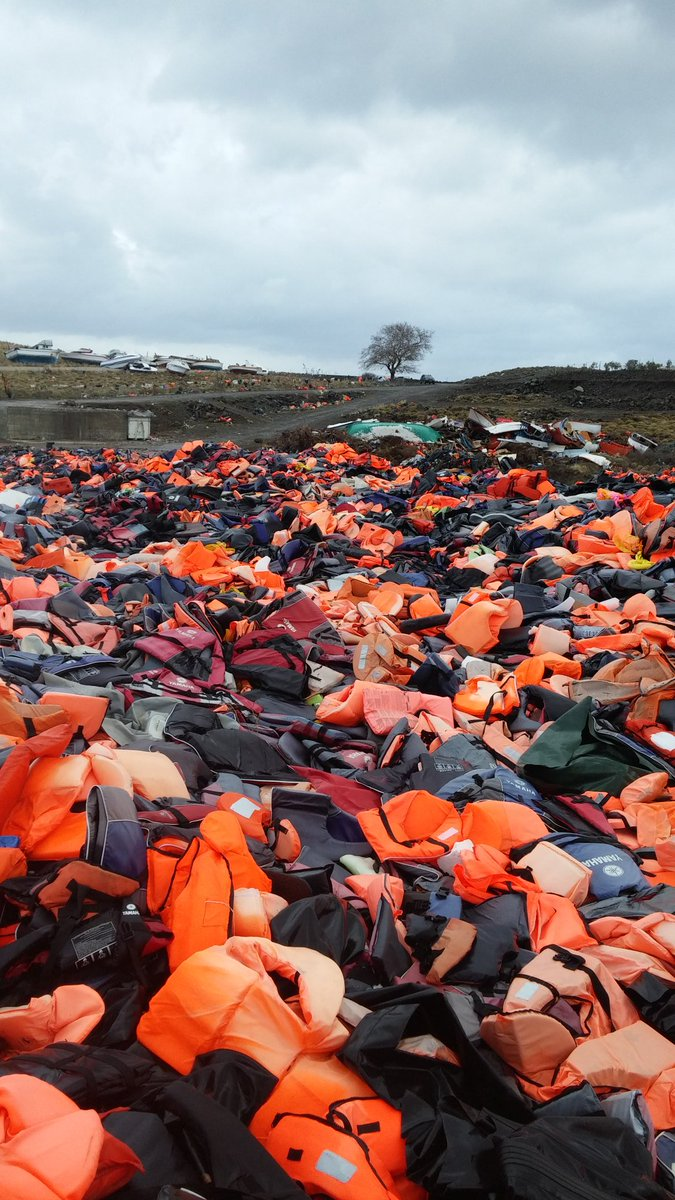 refugees lifejacket graveyard